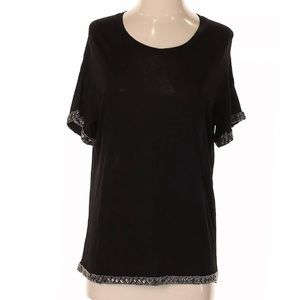The Kooples Scoop Tee with Beaded Details - XS